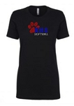 KHS Softball  Ladies Rhinestone Crew/ V-neck fitted tee