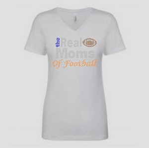 Real Moms of Football 1540 Next Level Perfect Rhinestone Tee