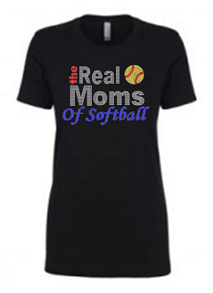 Real Moms of Softball 1540 Next Level Perfect Rhinestone Tee