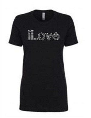ILove  Next Level Rhinestone Short Sleeve Tee